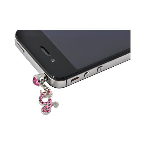 "Silver Initial ""G"" w/ Pink Gems Universal 3.5mm Headphone Jack Stopple Charm"