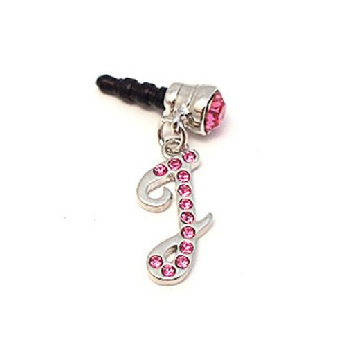 "Silver Initial ""I"" w/ Pink Gems 3.5mm Headphone Jack Stopple Charm"