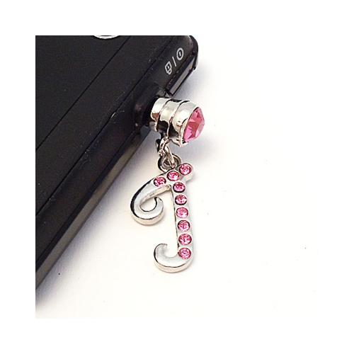 "Silver Initial ""J"" w/ Pink Gems 3.5mm Headphone Jack Stopple Charm"