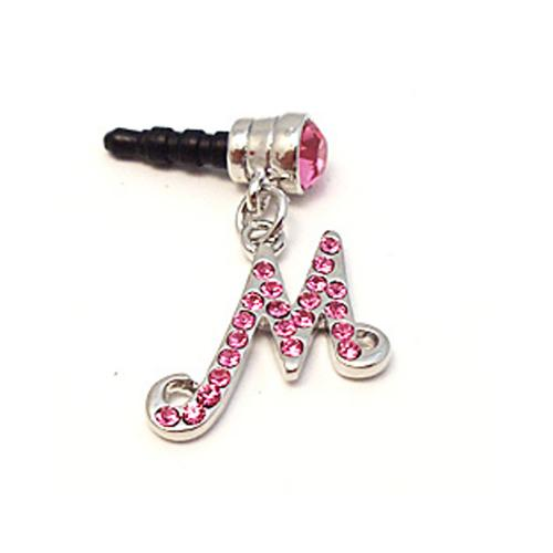 "Silver Initial ""M"" w/ Pink Gems 3.5mm Headphone Jack Stopple Charm"