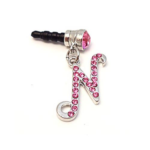 "Silver Initial ""N"" w/ Pink Gems 3.5mm Headphone Jack Stopple Charm"