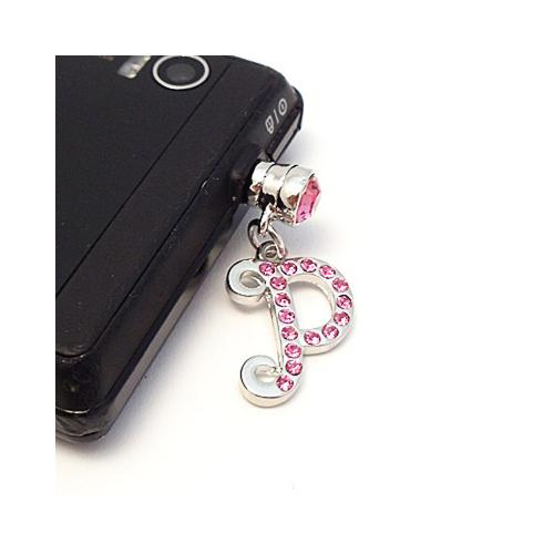 "Silver Initial ""P"" w/ Pink Gems 3.5mm Headphone Jack Stopple Charm"