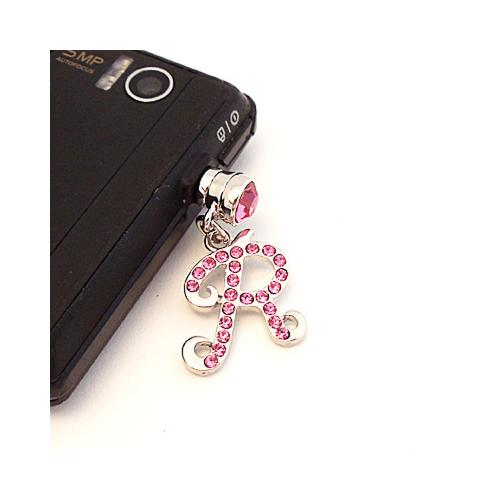 "Silver Initial ""R"" w/ Pink Gems 3.5mm Headphone Jack Stopple Charm"
