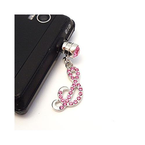 "Silver Initial ""S"" w/ Pink Gems 3.5mm Headphone Jack Stopple Charm"