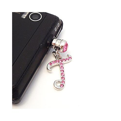 "Silver Initial ""T"" w/ Pink Gems 3.5mm Headphone Jack Stopple Charm"