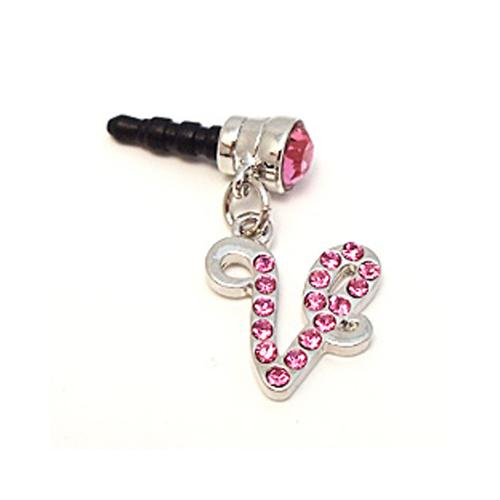 "Silver Initial ""V"" w/ Pink Gems 3.5mm Headphone Jack Stopple Charm"