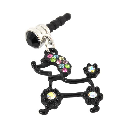 Universal 3.5mm Headphone Jack Stopple Charm - Black Poodle w/ Multi-Colored Gems