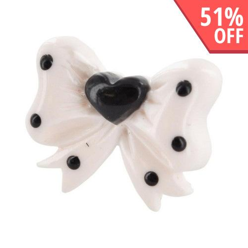 3.5mm Headphone Jack Stopple Charm - White Ribbon Bow w/ Black Heart & Dots