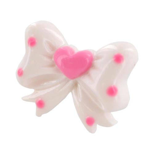 3.5mm Headphone Jack Stopple Charm - White Ribbon Bow w/ Pink Hearts & Dots