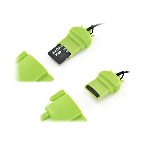 Universal 3.5mm Headphone Jack Stopple 32GB SDHC Memory Card Reader - Green Robot