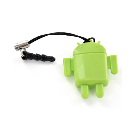 Universal 3.5mm Headphone Jack Stopple 64GB SDHC Memory Card Reader - Green Robot