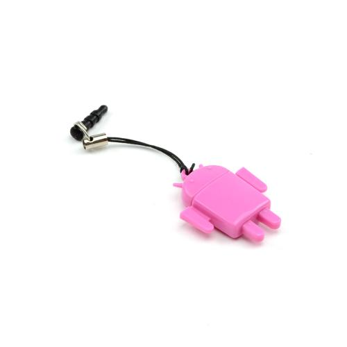 Universal 3.5mm Headphone Jack Stopple 64GB Micro SDHC Memory Card Reader w/ Strap - Pink Robot