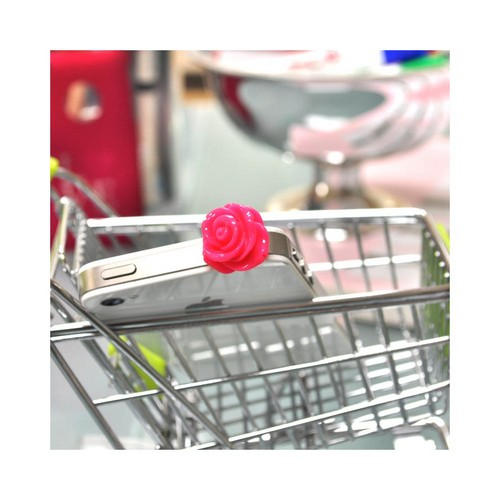 Universal 3.5mm Headphone Jack Stopple Charm - Hot Pink Rose
