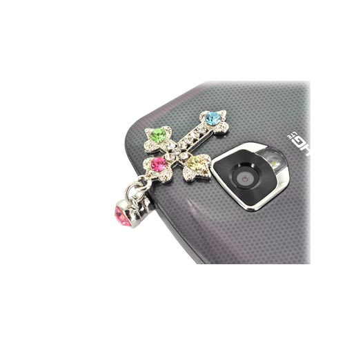 Universal 3.5mm Headphone Jack Stopple Charm - Cross w/ Silver & Multi-Colored Gems