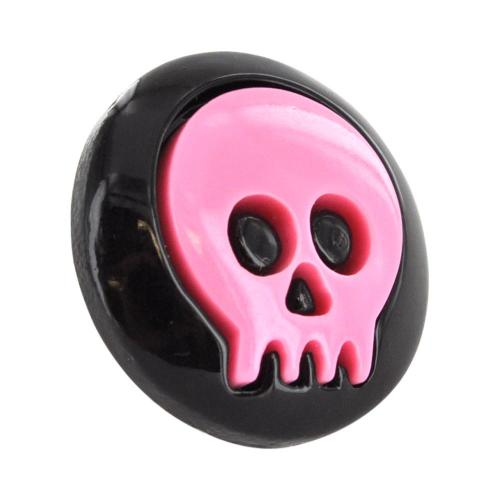 3.5mm Headphone Jack Stopple Charm - Pink Skull on Black