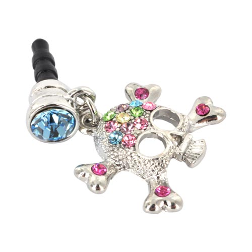 Universal 3.5mm Headphone Jack Stopple Charm - Silver Skull w/ Multi-Colored Gems