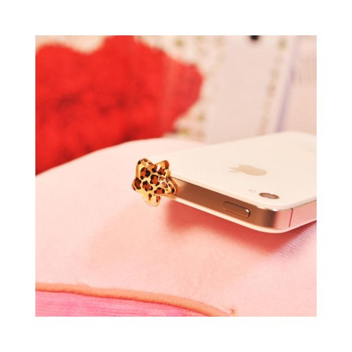 3.5mm Headphone Jack Stopple Charm - Brown/ Black Leopard Star