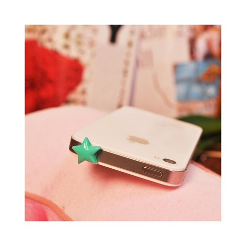 Universal 3.5mm Headphone Jack Stopple Charm - Green Star