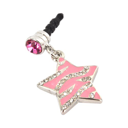3.5mm Headphone Jack Stopple Charm - Pink Star w/ Silver Gems