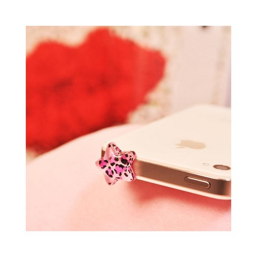 3.5mm Headphone Jack Stopple Charm - Pink/ Black Leopard Star
