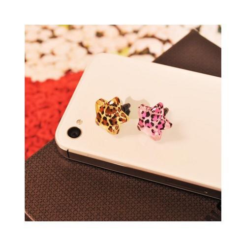 Universal 3.5mm Headphone Jack Stopple Charm - Pink/ Black Leopard Star
