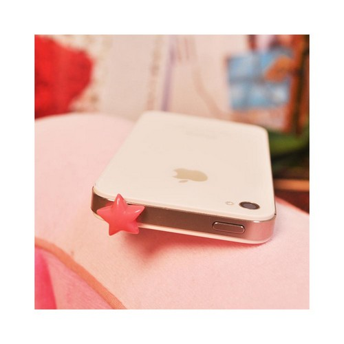 3.5mm Headphone Jack Stopple Charm - Hot Pink Star