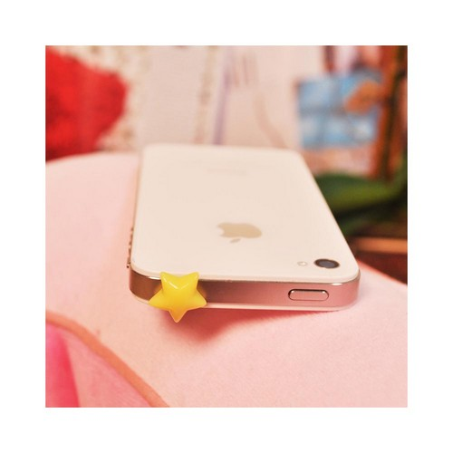 Universal 3.5mm Headphone Jack Stopple Charm - Yellow Star