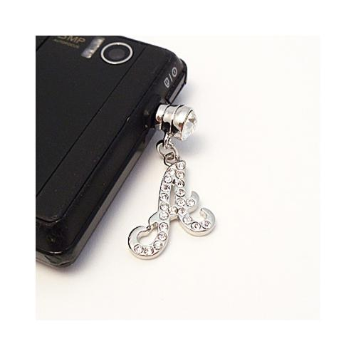 "Silver Initial ""A"" w/ Silver Gems Universal 3.5mm Headphone Jack Stopple Charm"