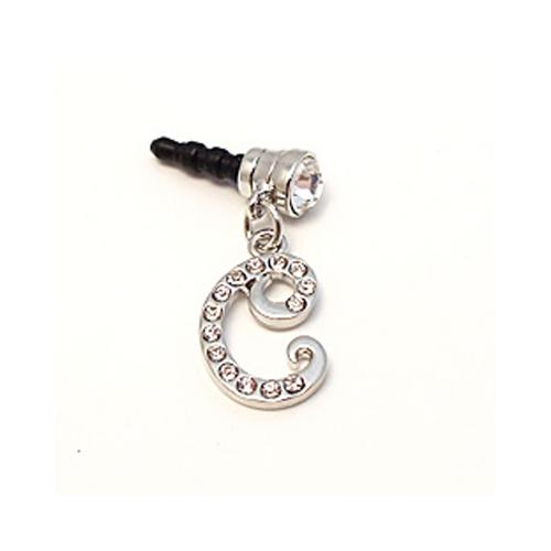 "Silver Initial ""C"" w/ Silver Gems Universal 3.5mm Headphone Jack Stopple Charm"