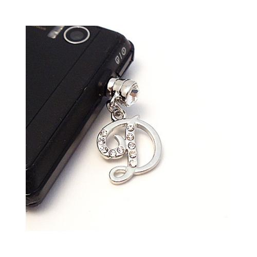 "Silver Initial ""D"" w/ Silver Gems 3.5mm Headphone Jack Stopple Charm"
