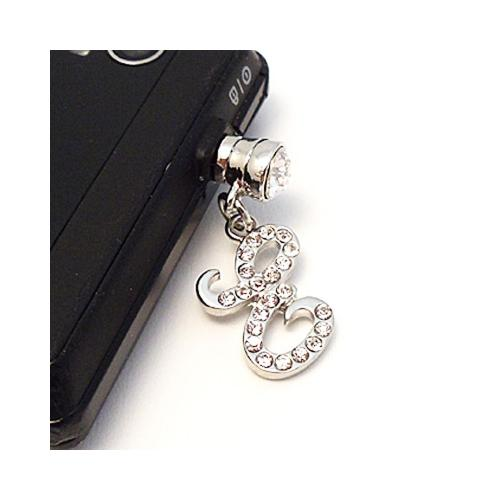 "Silver Initial ""E"" w/ Silver Gems Universal 3.5mm Headphone Jack Stopple Charm"