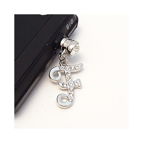 "Silver Initial ""F"" w/ Silver Gems 3.5mm Headphone Jack Stopple Charm"
