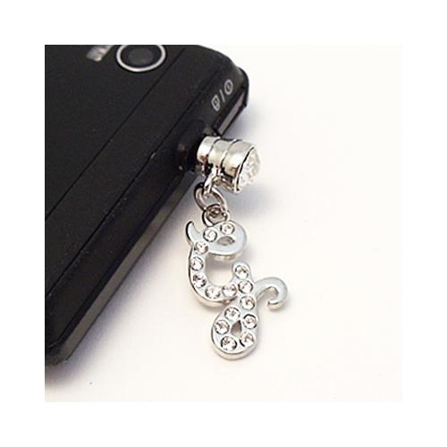 "Silver Initial ""G"" w/ Silver Gems 3.5mm Headphone Jack Stopple Charm"