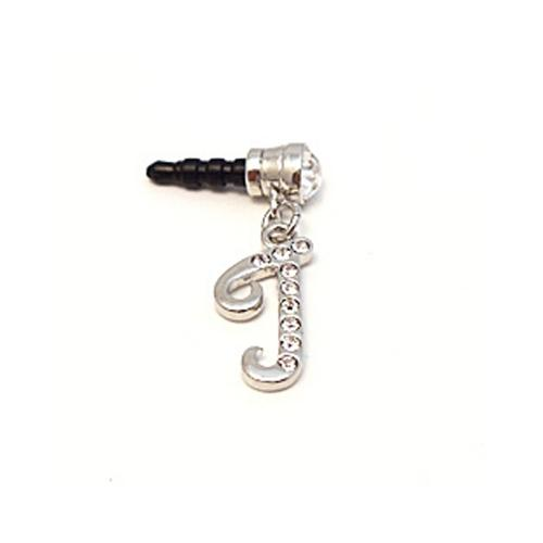 "Silver Initial ""J"" w/ Silver Gems 3.5mm Headphone Jack Stopple Charm"