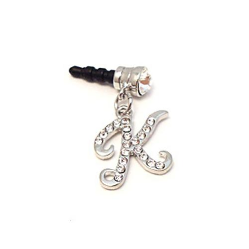 "Silver Initial ""K"" w/ Silver Gems 3.5mm Headphone Jack Stopple Charm"
