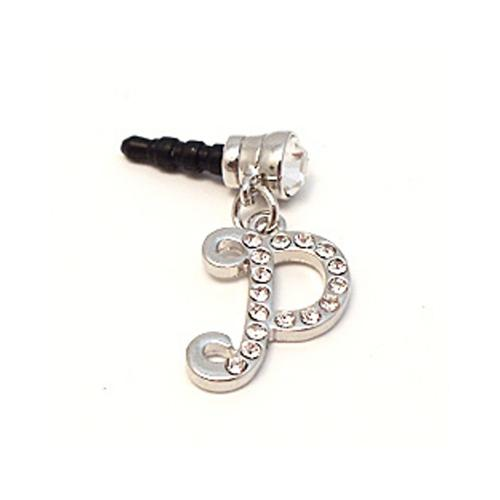 "Silver Initial ""P"" w/ Silver Gems 3.5mm Headphone Jack Stopple Charm"