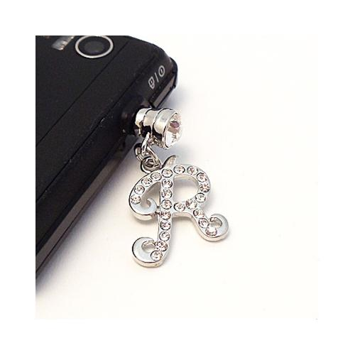 "Silver Initial ""R"" w/ Silver Gems 3.5mm Headphone Jack Stopple Charm"