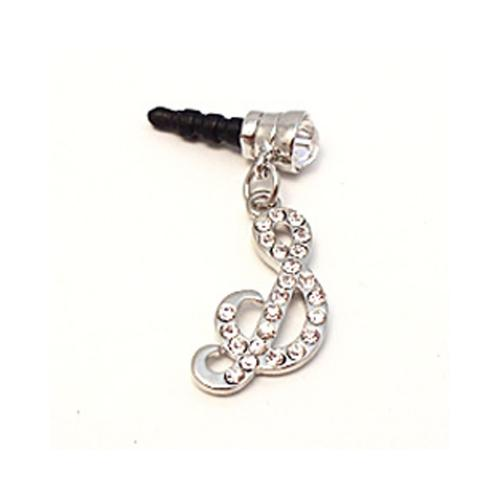 "Silver Initial ""S"" w/ Silver Gems Universal 3.5mm Headphone Jack Stopple Charm"