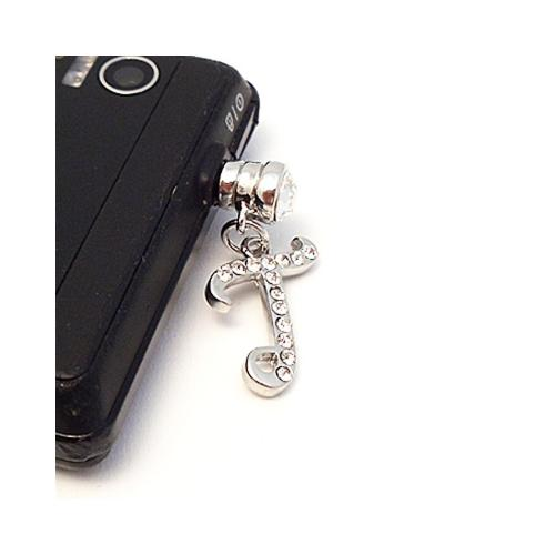 "Silver Initial ""T"" w/ Silver Gems 3.5mm Headphone Jack Stopple Charm"
