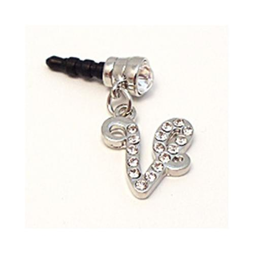 "Silver Initial ""V"" w/ Silver Gems 3.5mm Headphone Jack Stopple Charm"