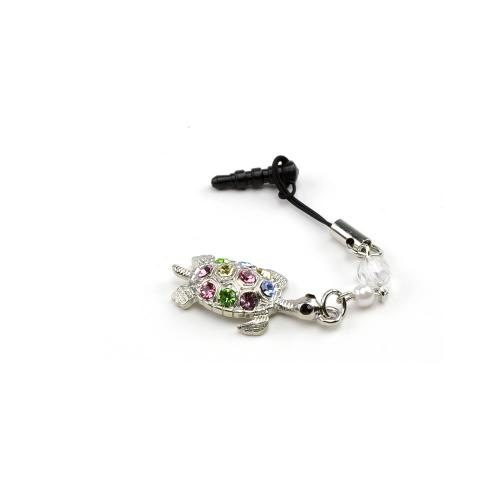3.5mm Headphone Jack Stopple Charm - Silver Turtle w/ Multi-Colored Gems