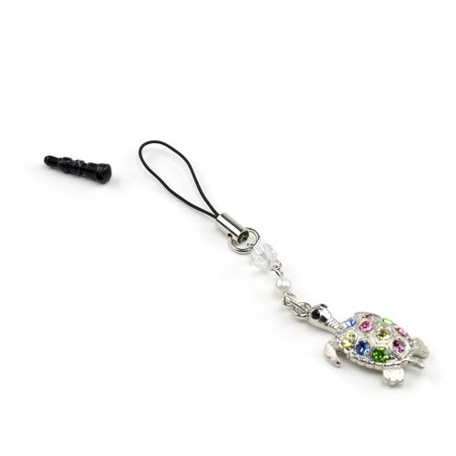 Universal 3.5mm Headphone Jack Stopple Charm - Silver Turtle w/ Multi-Colored Gems