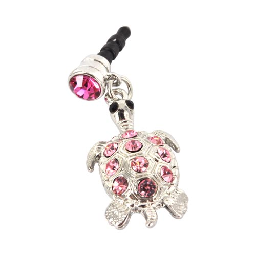 3.5mm Headphone Jack Stopple Charm - Silver Turtle w/ Pink Gems