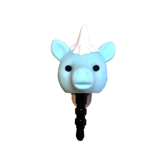 3.5mm Headphone Jack Stopple Charm - Pastel Aqua Unicorn