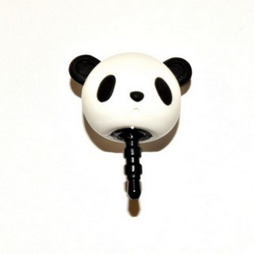 3.5mm Headphone Jack Stopple Charm - Black/White Panda