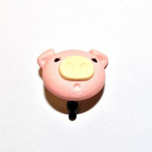 3.5mm Headphone Jack Stopple Charm - Pink Pig