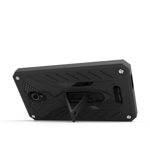 Alcatel Fierce 4 Case, STATIC Dual Layer Hard Case TPU Hybrid [Military Grade] w/ Kickstand & Shock Absorption [Black]