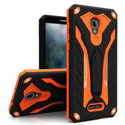 [Alcatel Fierce 4] Case, STATIC Dual Layer Hard Case TPU Hybrid [Military Grade] w/ Kickstand & Shock Absorption [Black/ Orange]