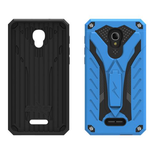 Alcatel Fierce 4 Case, STATIC Dual Layer Hard Case TPU Hybrid [Military Grade] w/ Kickstand & Shock Absorption [Blue/ Black] - (ID: STT-ALCOTF4-BLBK)
