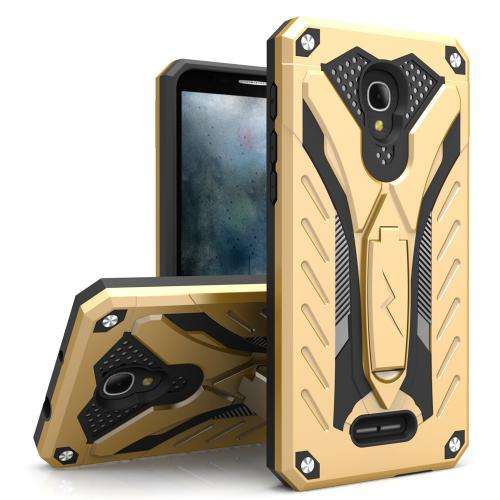Alcatel Fierce 4 Case, STATIC Dual Layer Hard Case TPU Hybrid [Military Grade] w/ Kickstand & Shock Absorption [Gold/ Black] - (ID: STT-ALCOTF4-GDBK)